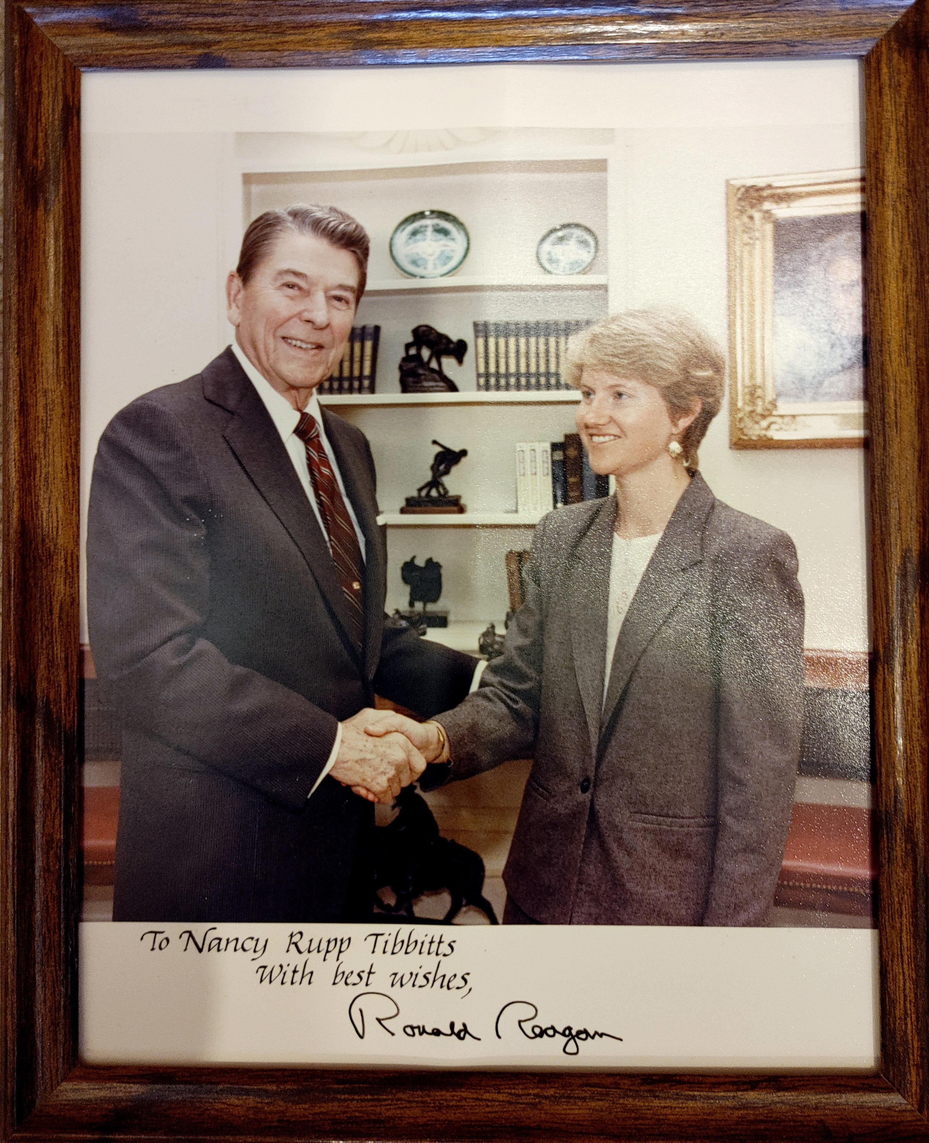 The late President Ronald Reagan with Nancy Rupp Tibbitts.