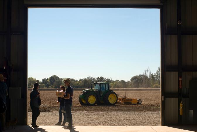 Researchers talk while a tractor moves across a field at the UC Davis Russell Ranch Sustainable Agriculture Facility in 2016. (Gregory Urquiaga/UC Davis)
