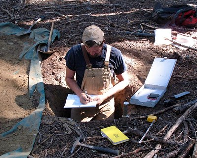 Co-leading author Scott Morford samples soils and bedrock