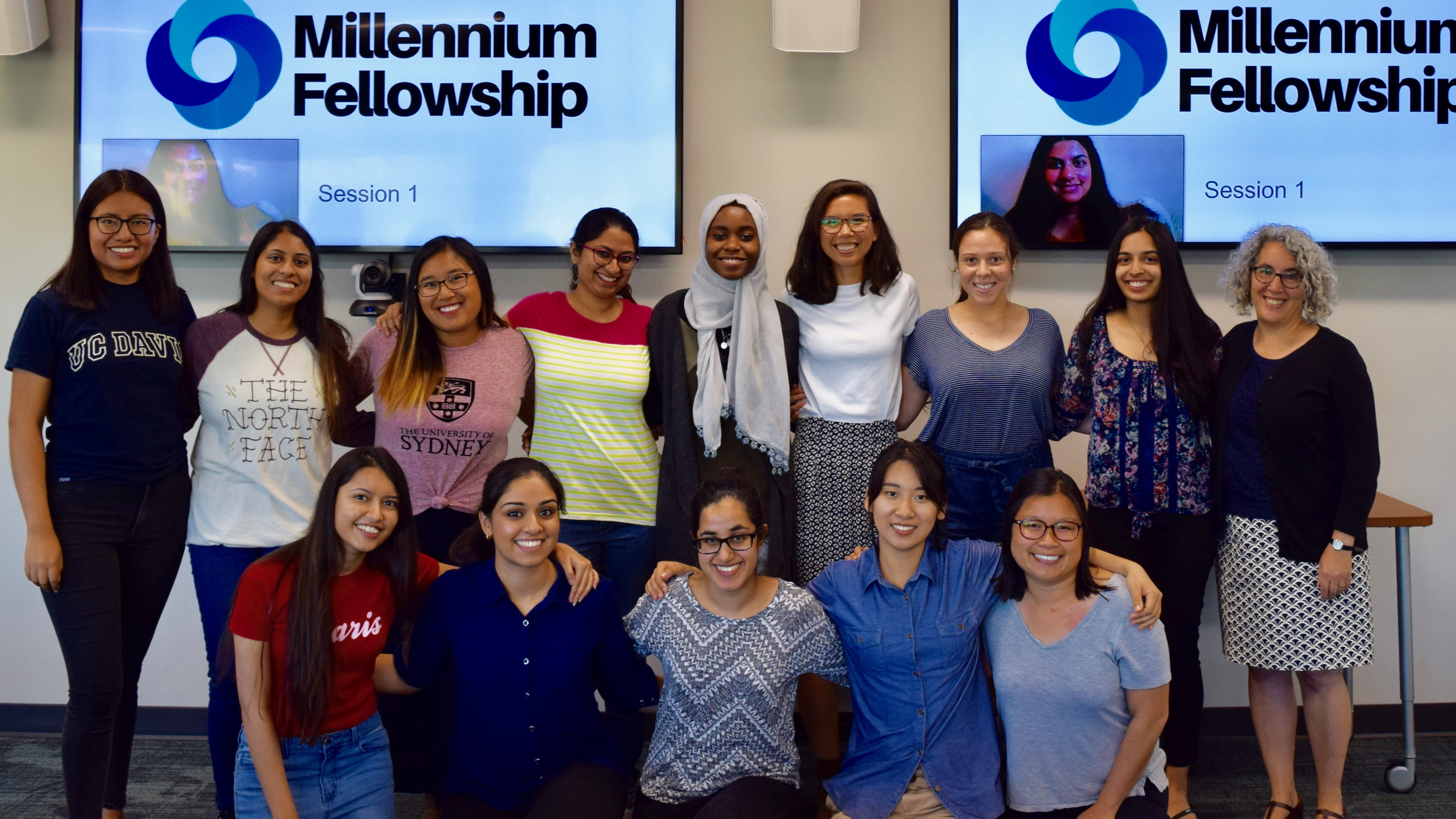 Arteaga (left) and the 2018-19 UC Davis Millennium Fellows with Nancy Erbstein, associate vice provost of Global Education for All in Global Affairs and associate professor in residence in the School of Education (right).