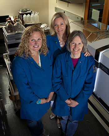 Researchers (left to right) Jenny Nelson, Alyson Mitchell, and Susan Ebeler in the Food Safety and Measurement Facility at UC Davis. (Tony Novelozo | AXIOM)