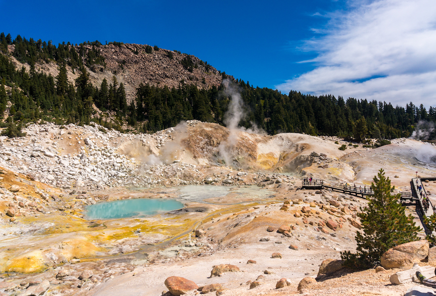 Bumpass Hell at Lassen Volcanic National Park, where boiling springs, hissing steam vents and fumaroles make for a geologically active landscape ripe for research, outreach and education. (Getty)