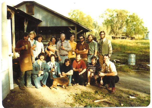 Michael J. Lewis, front row, right, and his brewing lab class in Sonoma, in the mid-1970s, with Jack McAuliffe, left, at his New Albion Brewing Co., the first microbrewery in the United States. Photo taken by UC Davis student Doug Muhleman, who would earn a bachelor's degree in 1977 and a master's in 1979 and go on to become vice president of brewing operations and technology for Anheuser-Busch.