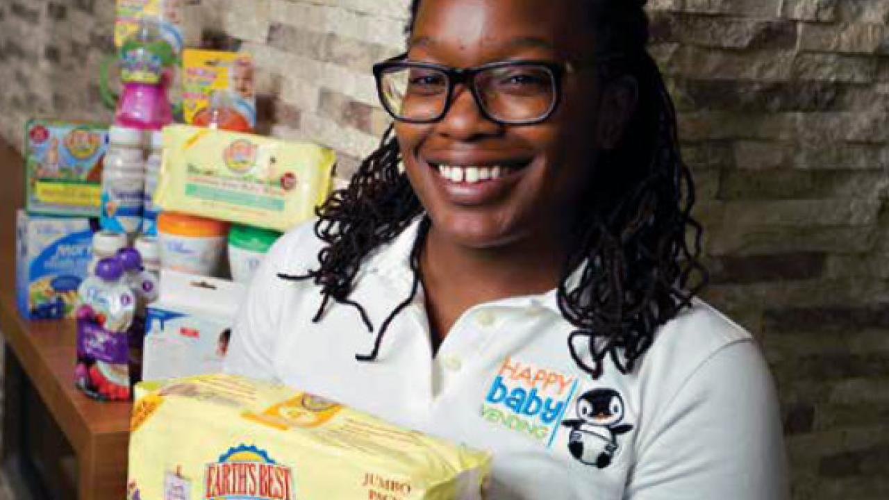"""UC Davis definitely helped me get to where I am today,"" said Erica Harris, owner of Happy Baby Vending products."