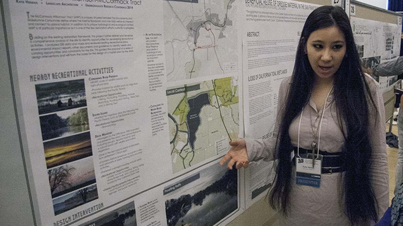 At the Undergraduate Research Conference, landscape architecture student Katie Herman presented a poster on her senior project, Illuminating the Delta, which analyzed recreational opportunities in the Sacramento–San Joaquin Delta. (Photo: UC Davis)