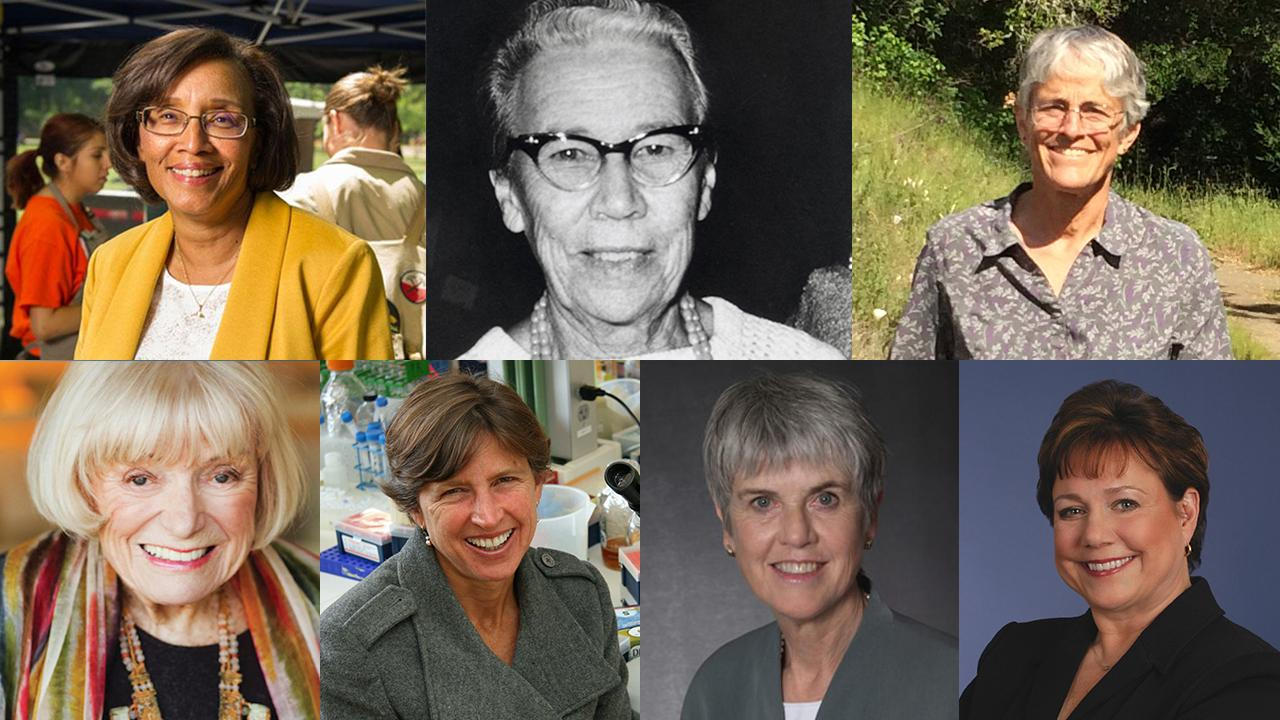 "The ""Remarkable UC Davis Women"" list includes, top row from left: Dean Helene Dillard, Katherine Esau, Susan Harrison, Margrit Mondavi, Pamela Ronald, Barbara Schneeman and Ann Veneman."