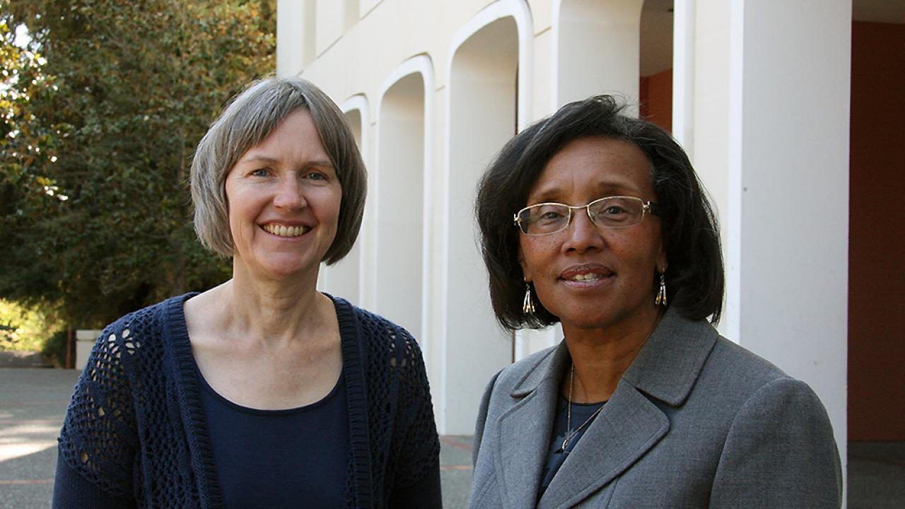 One of the new CA&ES leaders to join Dean Helene Dillard (right) is viticulture and enology professor Susan Ebeler (left), who recently became associate dean for Undergraduate Academic Programs.