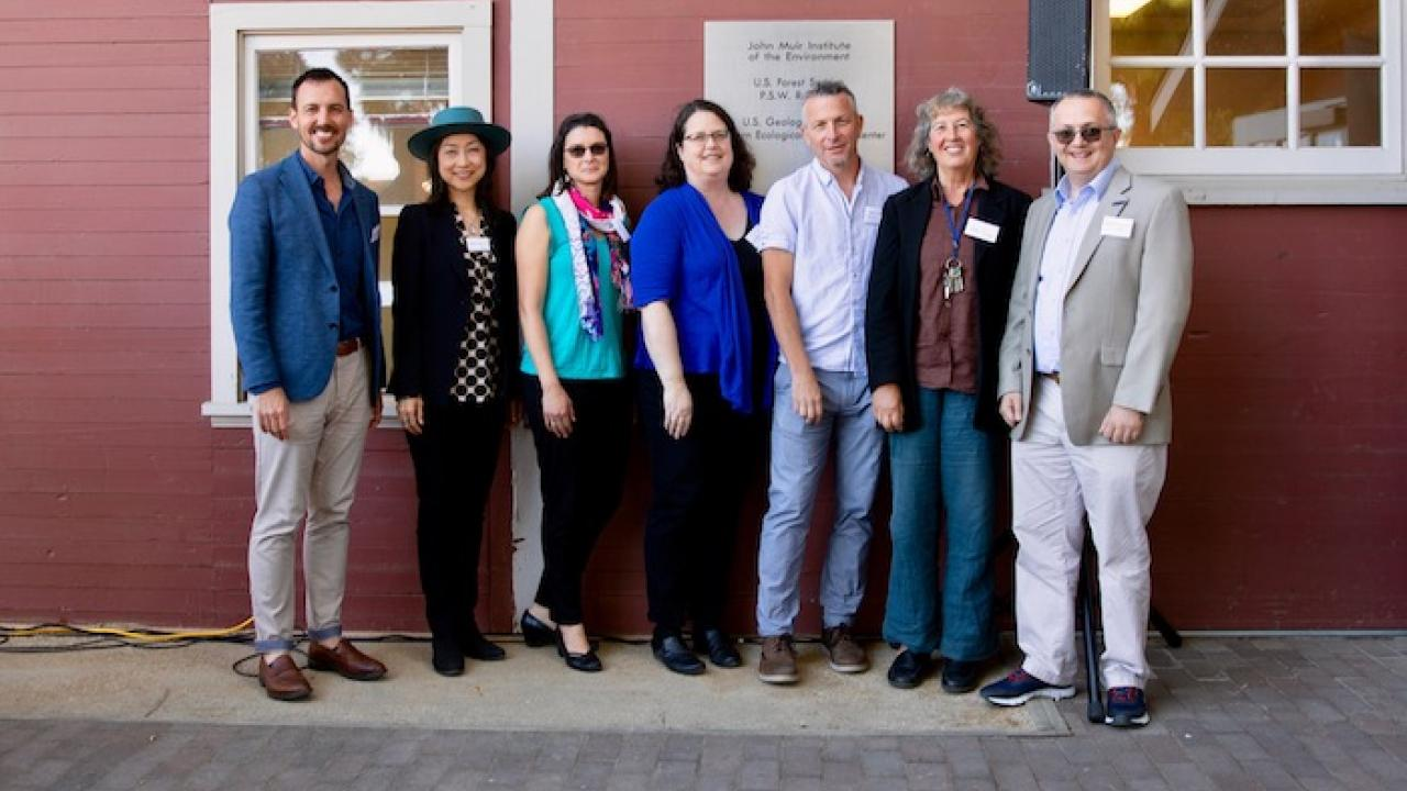 Ben Houlton, director of the Muir Institute, left, and the 2019 Muir Institute Fellows: Ayako Yasuda, Tessa Hill, Laura S. Van Winkle, Mark Lubell, Kate Scow and Majdi Abou Najm. Not pictured: Carson Jeffres. (Lisa Howard/UC Davis)