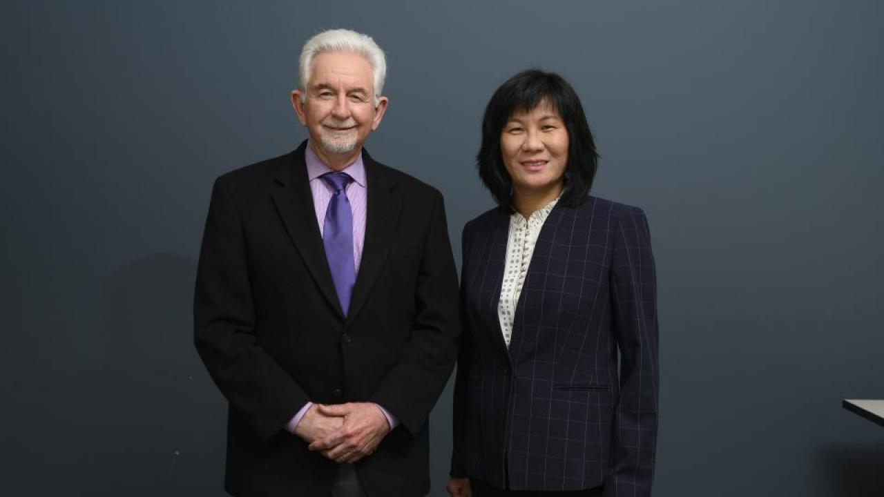 Professor Cameron Carter, School of Medicine (left) and Li Tian, associate professor in the Department of Plant Sciences will be co-directors of the Cannabis and Hemp Research Center at UC Davis. The center will guide and support cannabis- and hemp-related research across the Davis and Sacramento campuses.
