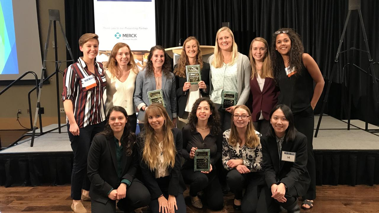 The graduate and undergraduate UC Davis Animal Welfare Judging Teams following the awards ceremony. Back row, left to right: Allison Pullin (coach) with members of the graduate team—Sarah Adcock, Alycia Drwencke, Maggie Creamer, Karli Chudeau, Rachael Coon and Kaleiah Schiller (coach). Front row, left to right: members of the undergraduate team—Melissa Thurston, Sabrina Mederos, Liz Sanchez, Tanya Douglas and Lucy Xu.