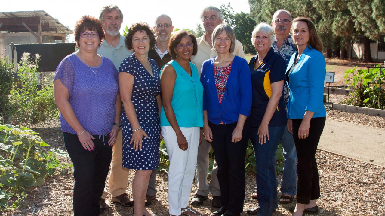 Thank you to staff from Helene and the policy council. Members include (first row, l to r Julie Fritz-Rubert, Penney Herbert, Helene Dillard, Sue Ebeler, Mary Delany, Christine Schmidt second row, l to r Ron Tjeerdema, Dave Campbell, Jan Hopmans, Ed Lewis faculty, staff)