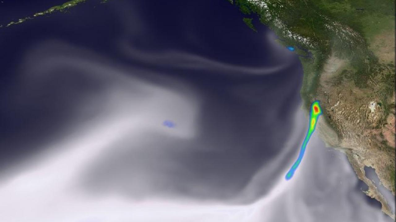 This image shows a simulated atmospheric river event impacting California. Image Courtesy of Paul Ullrich/UC Davis