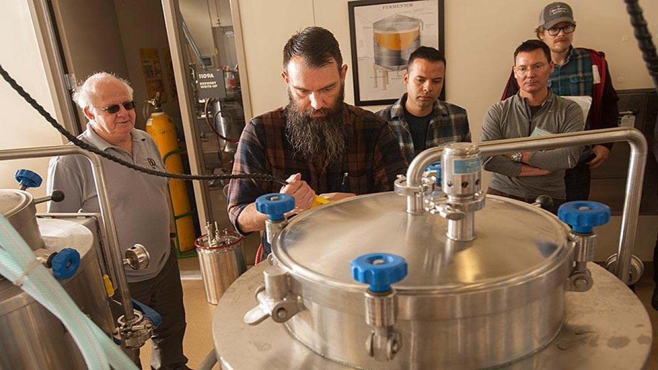 Professor Charlie Bamforth, left, and brewer Joe Williams, second from left, confer as beer is brewed in the UC Davis brewery. (Gregory Urquiaga/UC Davis)