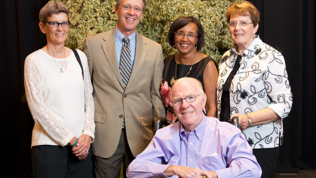 Chancellor Emeritus Larry Vanderhoef (seated, front), attended the October 2, 2015 CA&ES College Celebration. Also shown (left to right) are: Karen Moore, John Meyer, CA&ES Dean Helene Dillard, and Rosalie Vanderhoef. (Photo: T.J. Ushing/UC Davis)