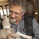 Professor Jim Murray of Animal Science holds with transgenic alpine kid in the Goat Teaching and Research Facility.