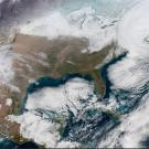 Geocolor image from NOAA's GOES-16 satellite of powerful East Coast storm on Jan. 4, 2018. (NOAA)