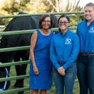 Dean Helene Dillard poses with students from the Draft Horse and Driving Club at the 2017 College Celebration.