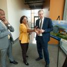 CA&ES Dean Helene Dillard speaks with UC Davis Chancellor Gary May (left) and Department of Viticulture and Enology Chair David Block (right) about the need to expand facilities at the Robert Mondavi Institute for Wine and Food Science. Planned improvements would greatly benefit research and teaching capabilities and better prepare the next generation of wine makers and industry professionals.