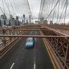 One car drives across New York's Brooklyn Bridge during this spring's shelter-in-place directives. (Getty)