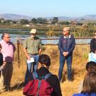 "Teams participating in Resilient By Design's Bay Area Challenge visit Green Island, part of the Napa-Sonoma Marshes Wildlife Area near the Napa River. UC Davis faculty are on one of the ten winning teams, and describe their approach to mitigating the impact of climate change in the Bay Area as ""building with mud."" (Credit: Brett Milligan, UC Davis)"