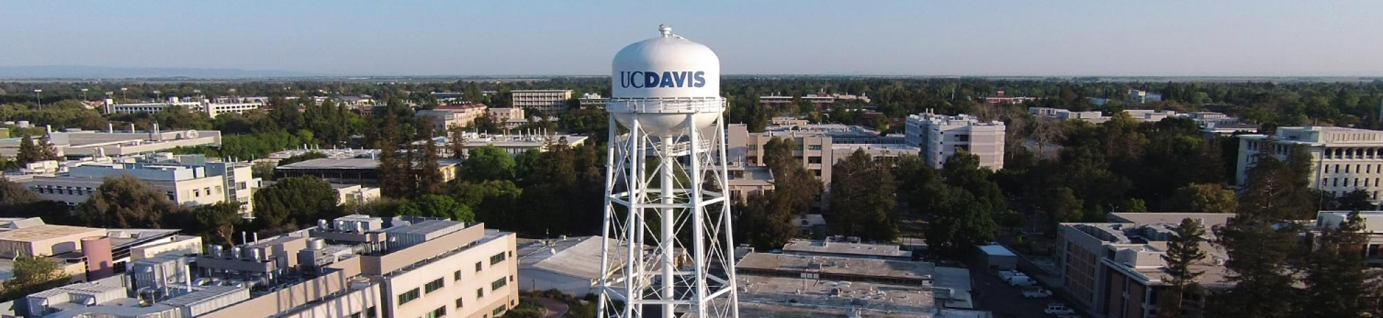 The UC Davis waterpower stands high above the campus.